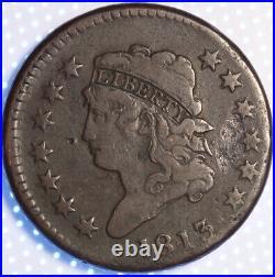 1813 Classic Head Large Cent, Rare Early Copper, Very Fine, Original Color