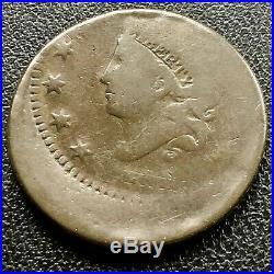 1838 Large Cent 1c OFF CENTER very rare MINT ERROR Matron Coronet Head #16049