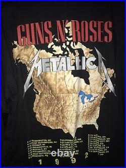 1992 Metallica vintage tour T-shirt guns n'roses (Brockum) L very rare NOS