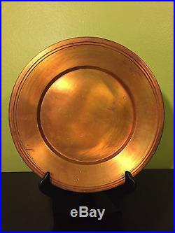 6 Pottery Barn Large Heavy Copper Chargers Plates Made in Turkey 14.5 Very Rare