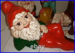 8 pc Vintage Ceramic Gnomes Large Rare Stump Beautiful faces Very Nice
