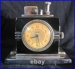 ART DECO RONSON CLOCK (Large Face) TOUCH TIP LIGHTER Figure 190 Very Rare