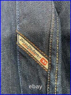 Adidas X Diesel Zip Denim Jacket L Dark Blue Gold Trefoil 3 StripesVERY RARE