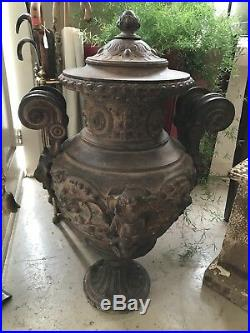Antique (1900s) Very Large Rare Estate Cast Iron Lidded Garden Urn / Statue