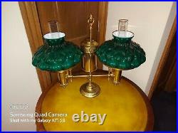 Antique Brass Miller Student Lamp with very rare 10 Original puffy shades