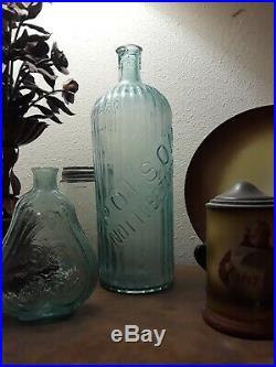 Antique Poison Bottle Aqua Blue Large 14.5 Very Rare Ribbed Vintage Excellent