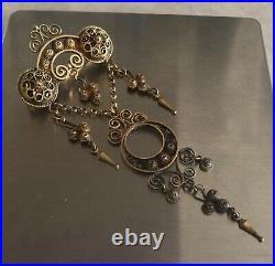 Antique Scandinavian Swedish 830S Silver Large Filigree Brooch Pin Very Rare
