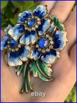 Antique brooch 1930-1940s Large 3+ Inch Enamel Blue Flowers Very Rare Pin