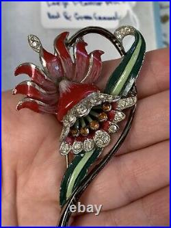 Antique brooch 1930-1940s Large 3 + Inch Enamel Red Lily Flower Very Rare Pin