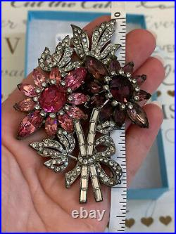 Antique brooch 1930 s Large 3+ Inch Flower pink purple Rhinestone Very Rare Pin