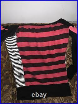 Authentic Skelanimals off the shoulder long striped top Very Rare HTF