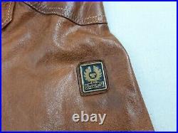 Belstaff Gold Label Leather Jacket Brown Men's Size L Blazer Buttons Very Rare