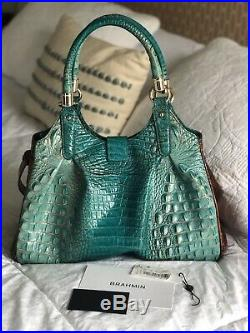 Brahmin Elisa Hobo Handbag Very Rare Turquoise Pecan Special Edition