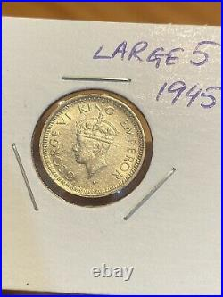 British India 1/4 Rupee 1945 Silver Coin, LARGE 5! King George 6. VERY RARE