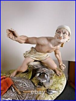 Capodimonte Large Figure Group David And Goliath By Tiziano Galli Very Rare