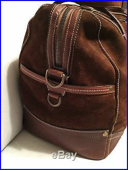 Coach Legacy Brown Suede Lg Duffle Leather Carry On Luggage Travel Bag Very Rare