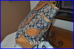 Coach denim bleecker leather floral embossed signature large tote. VERY RARE