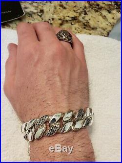 David Yurman Men Sterling Silver Black Diamond BraceletExtra Large Very Rare