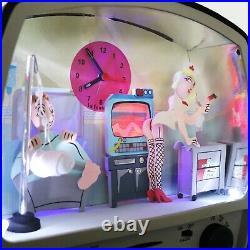 EROTIC Alarm Mantel Clock Vintage RADIO Animated Feature! Very Rare Large FRENCH
