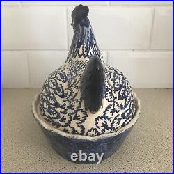 Emma Bridgewater Very Rare Hen On Nest Blue And White Coddler Large