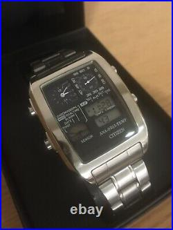 Extra Large Case Ana-digi Temp 8988 Citizen 1481010 Digital LCD Watch Very Rare