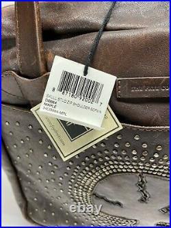 FRYE SKULL STUD ZIP SHOULDER MAPLE Brown Leather Shopper / Tote Bag VERY RARE