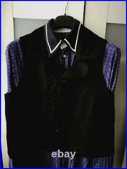 Fabulous Very Rare Yohji Yamamoto Black Wool Waistcoat, With Flower Details