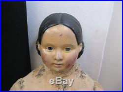 GREAT ANTIQUE VERY LARGE & EARLY GERMAN PAPIER MACHE DOLL RARE! Exposed Ears