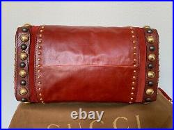 GUCCI Sold Out Very Rare Large Red Babouska Studded Boston Hand Bag