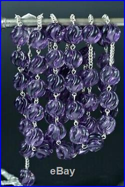 Gorgeous large 19THc Silver Rosary Annunciation twisted purple beads very rare