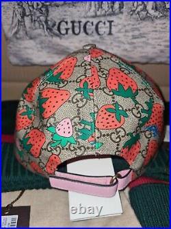 Gucci GG canvas Strawberry Baseball cap size L, Very rare, Lmtd dustbag incld