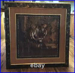 Home Interior Tiger Picture VGC, RARE, HTF. VERY LARGE HOMCO BLACK & GOLD FRAME