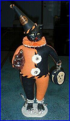 LARGE 20 Bethany Lowe Halloween Cat Figurine With Christmas Tree VERY RARE