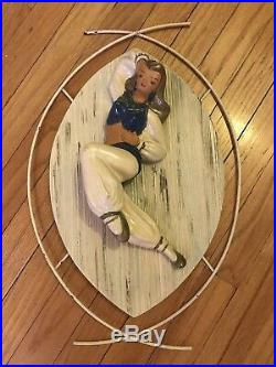 Large Very Rare Vintage Pair 50s Wall Gypsies Set Plaque Dancer Figurines Genie