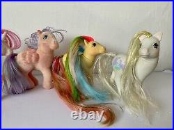 Large bundle G1 My Little Pony ponies x 6 Some Very Rare inc brush & grow 1980s