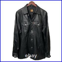 Levi's LOT 53 Very Rare Vintage Long Heavy Leather Black Trucker Jacket Men L 42