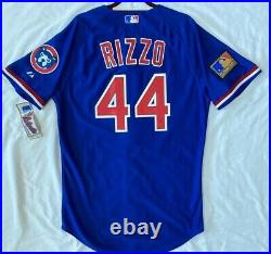 Majestic 44 LARGE CHICAGO CUBS ANTHONY RIZZO, TBTC ON FIELD JERSEY, VERY RARE
