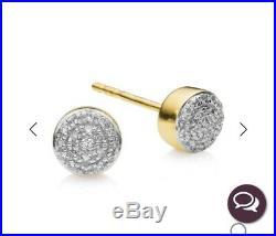 Monica Vinader Very Rare Large Fiji Studs 18ct Gold Diamonds RRP £425. Brand New