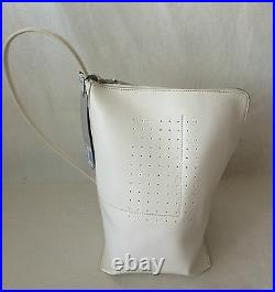 NWT. Rick Owens Unisex White Leather Triangular Bucket Shoulder Bag. Very rare