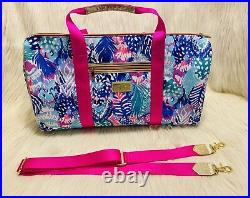 NWT! Very Rare Lilly Pulitzer Quill Out Large Travel Duffel Bag Pink Multi