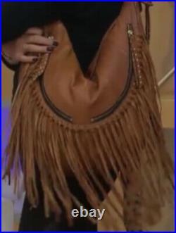 OrYANY Angie Leather Very Rare Brown Handbag Shoulder Bag Purse Fringe New