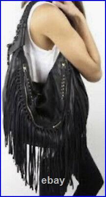 OrYANY Angie Leather Very Rare Gray Handbag Shoulder Bag Purse Fringe