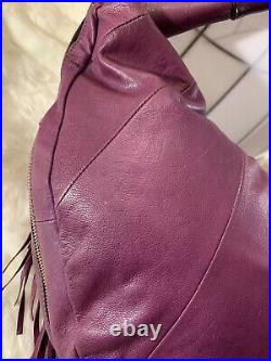 OrYANY Angie Leather Very Rare Purple Handbag Shoulder Bag Purse Fringe