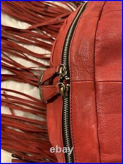 OrYANY Angie Leather Very Rare Red Handbag Shoulder Bag Purse Fringe
