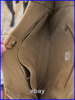Orla Kiely Orange Cream Wool Leather Large Stem Bag Hobo Very Rare
