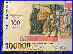 PHILIPPINES 100,000 Piso 1998, P-190a, UNC, Very Rare High Denom & Large. 100000