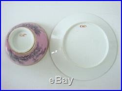 Paris Porcelain Very Rare Caen Factory Pompadour Ground Large Bowl & Stand C1795