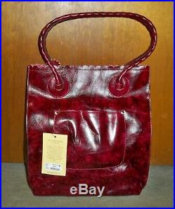 Patricia Nash Berry Red Tooled Floral Cavo Tote, VERY RARE COLOR-GORGEOUS