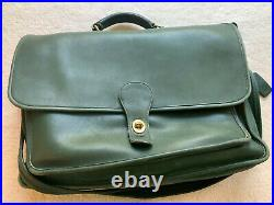 Preowned Vintage Coach Green Leather Flap Briefcase Very Rare