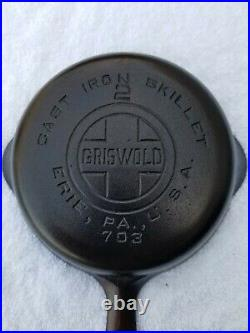 RARE Restored Griswold #2 Large Block Logo Cast Iron Skillet 703 very nice